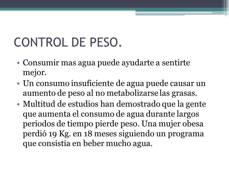CONTROL DE PESO. Consumir mas agua puede ayudarte a sentirte mejor.