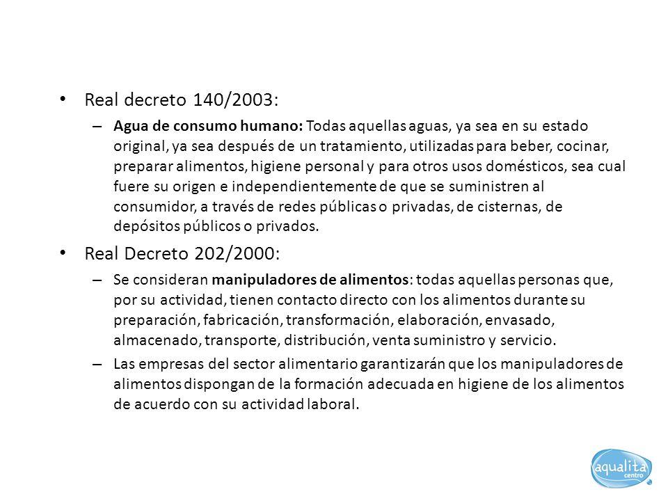 Real decreto 140/2003: Real Decreto 202/2000: