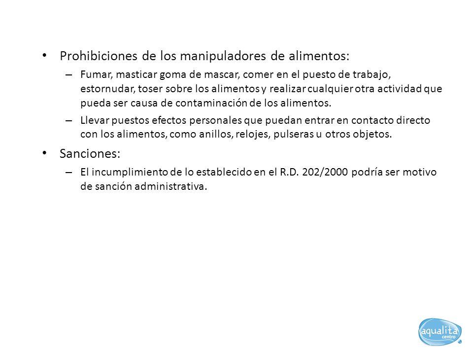 Prohibiciones de los manipuladores de alimentos: