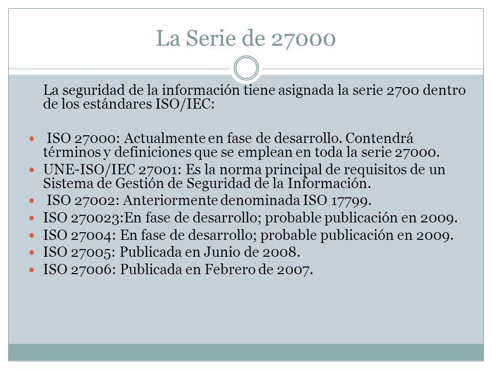 La Serie de 27000 La seguridad de la información tiene asignada la serie 2700 dentro de los estándares ISO/IEC:
