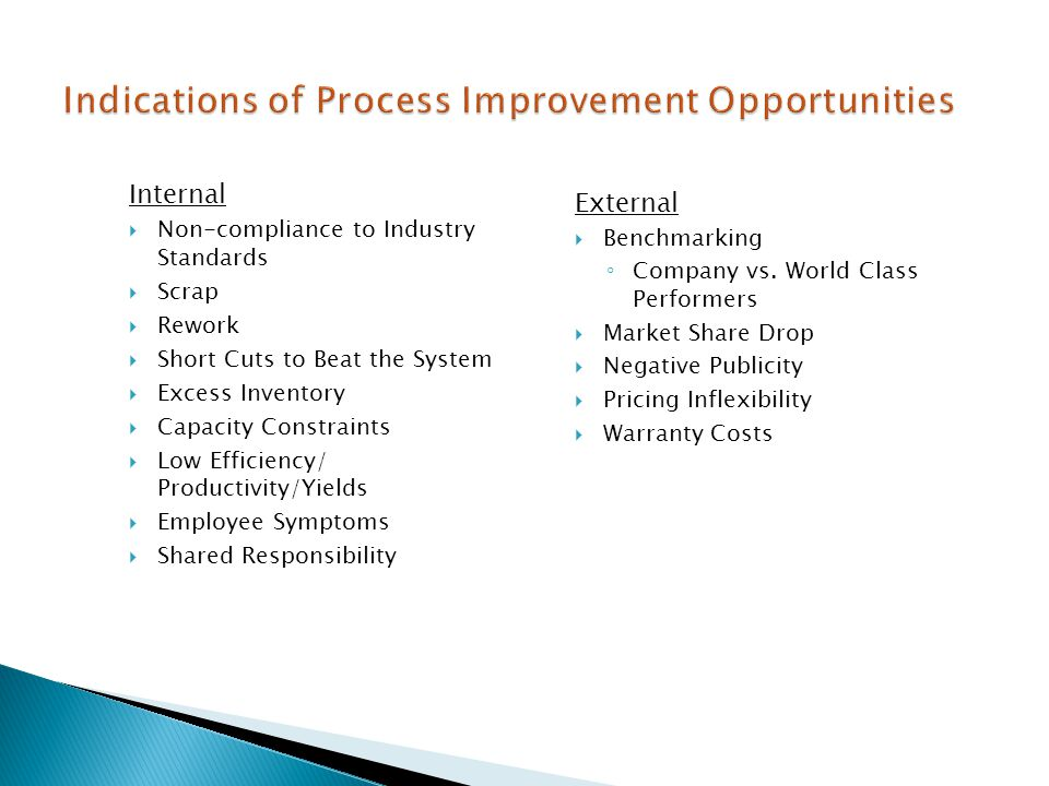 Indications of Process Improvement Opportunities