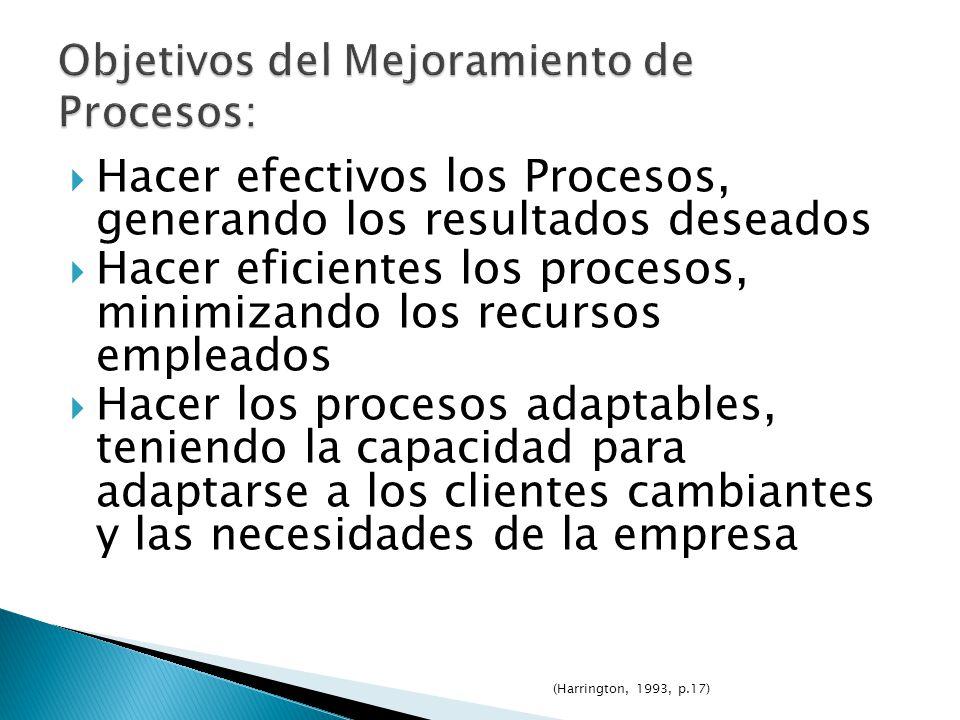 Objetivos del Mejoramiento de Procesos: