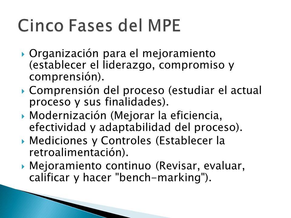 Cinco Fases del MPE Organización para el mejoramiento (establecer el liderazgo, compromiso y comprensión).