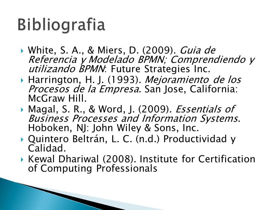 Bibliografia White, S. A., & Miers, D. (2009). Guia de Referencia y Modelado BPMN; Comprendiendo y utilizando BPMN: Future Strategies Inc.