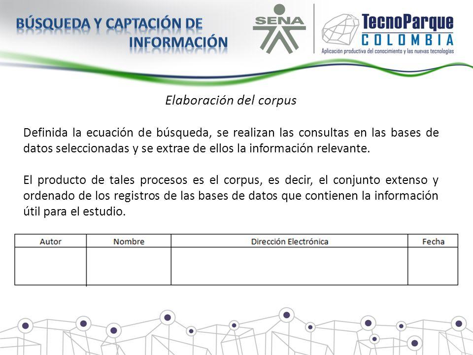 Elaboración del corpus