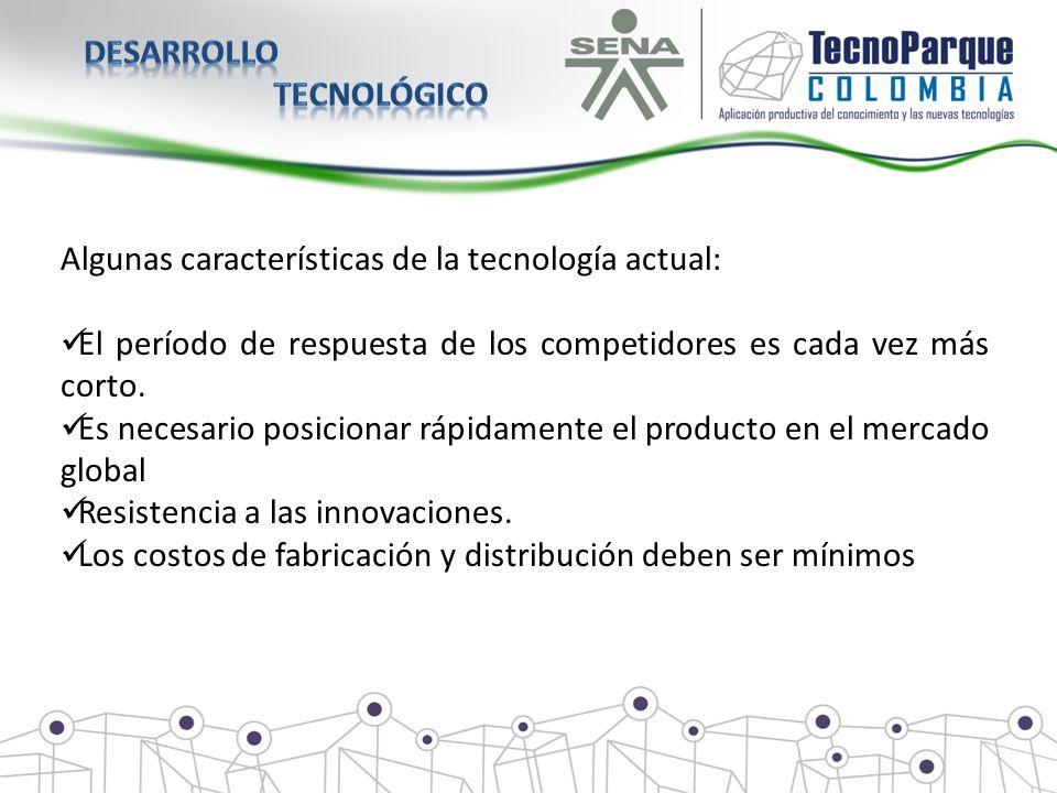 Desarrollo tecnológico. Algunas características de la tecnología actual: El período de respuesta de los competidores es cada vez más corto.