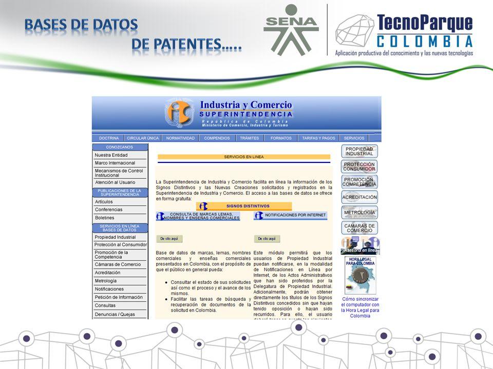 Bases de datos de patentes…..