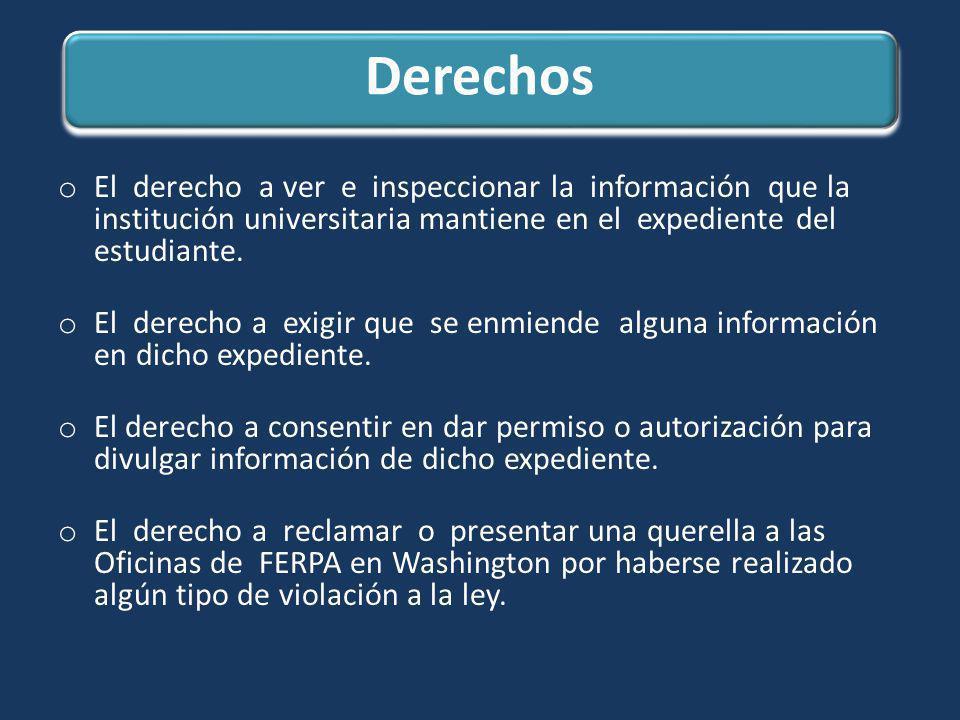 Derechos El derecho a ver e inspeccionar la información que la institución universitaria mantiene en el expediente del estudiante.
