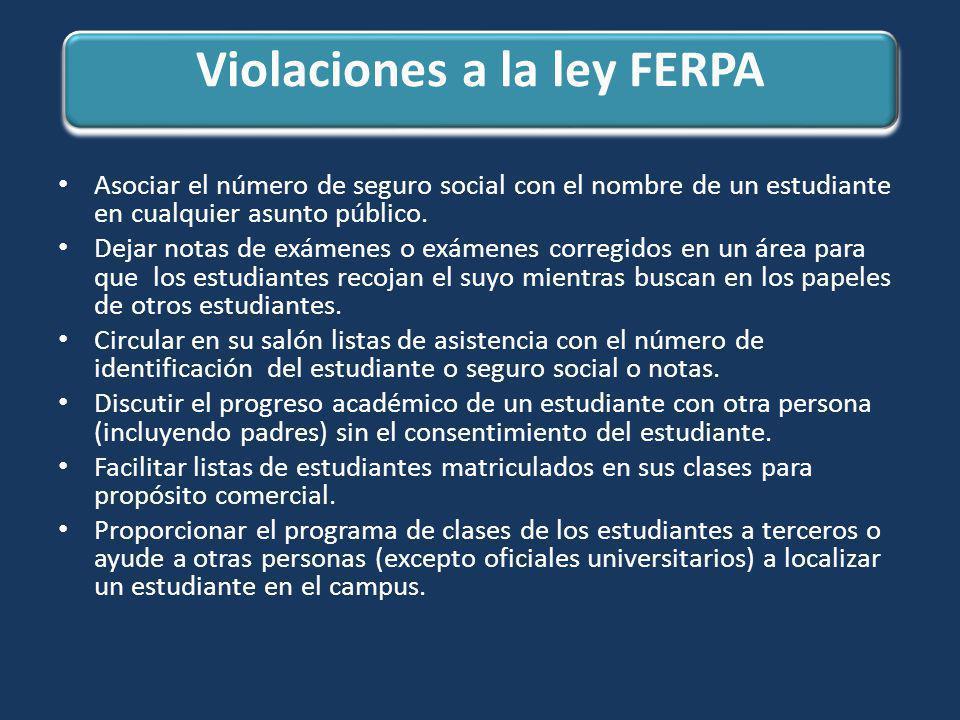 Violaciones a la ley FERPA