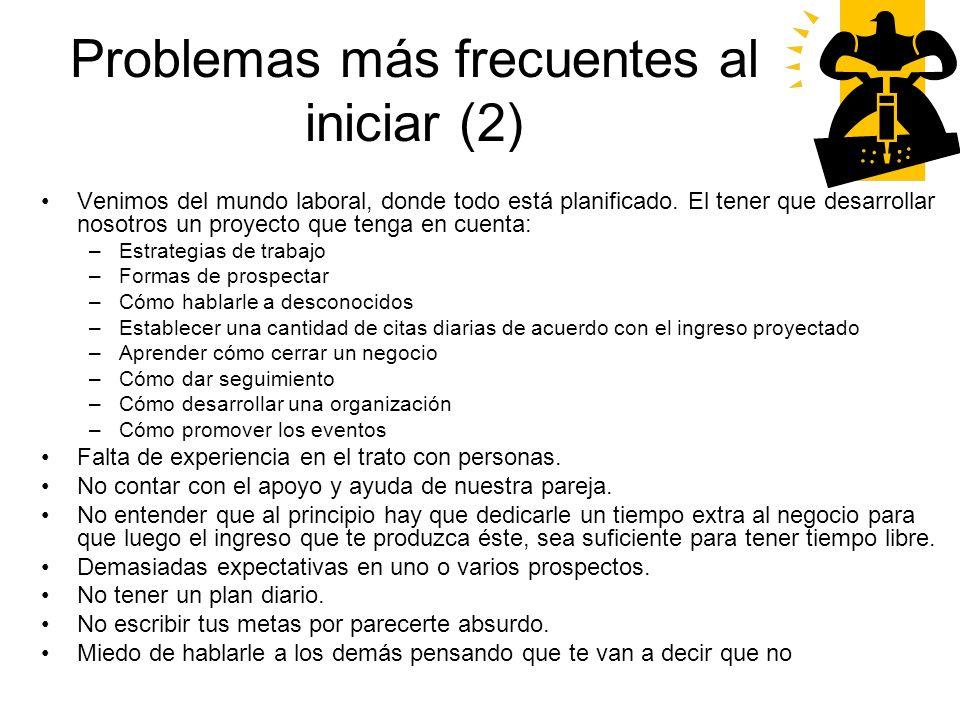 Problemas más frecuentes al iniciar (2)