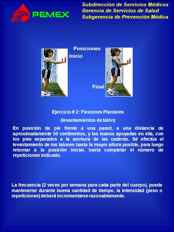 Ejercicio # 2: Flexiones Plantares (levantamientos de talón)