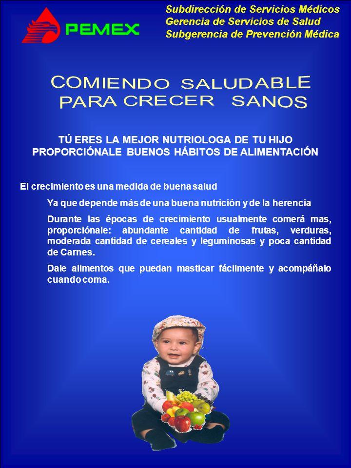 COMIENDO SALUDABLEPARA CRECER SANOS. TÚ ERES LA MEJOR NUTRIOLOGA DE TU HIJO PROPORCIÓNALE BUENOS HÁBITOS DE ALIMENTACIÓN.