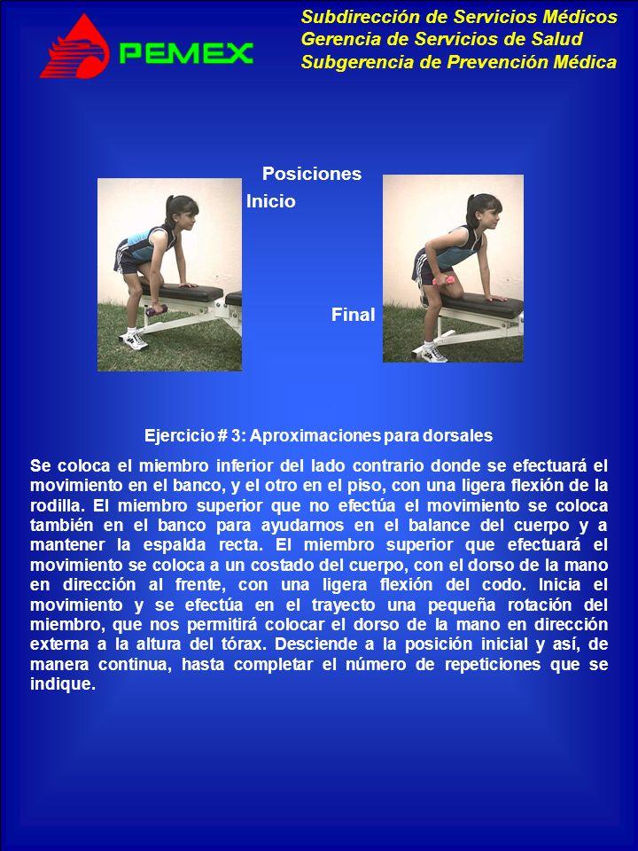 Ejercicio # 3: Aproximaciones para dorsales