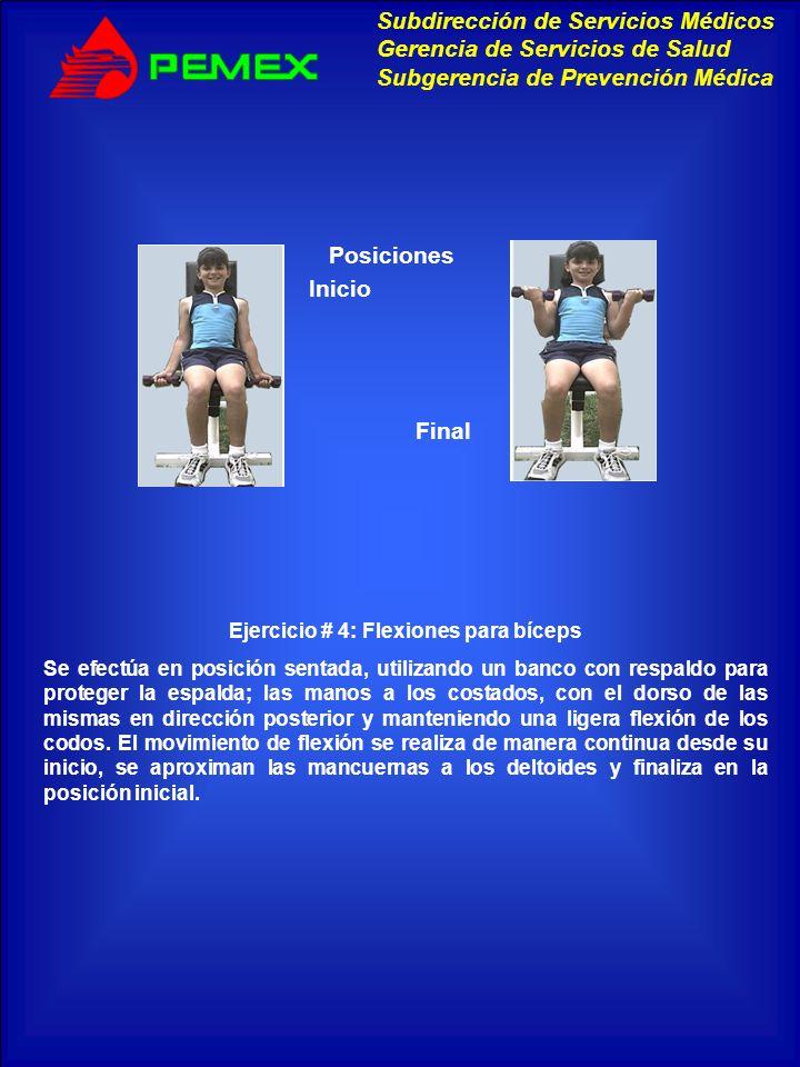 Ejercicio # 4: Flexiones para bíceps
