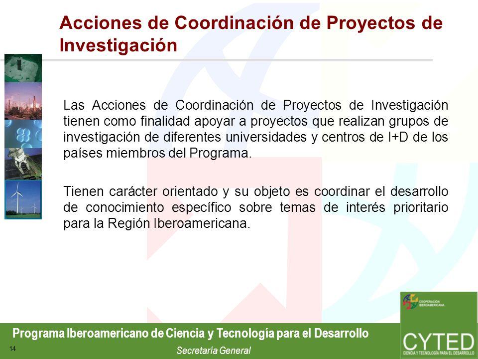 Acciones de Coordinación de Proyectos de Investigación