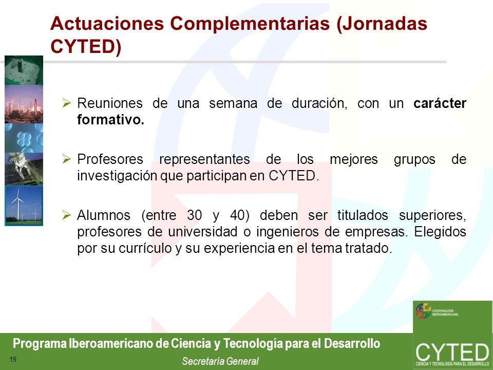 Actuaciones Complementarias (Jornadas CYTED)