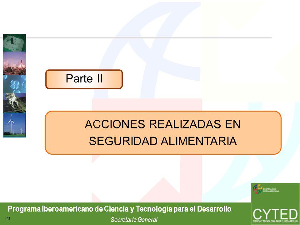 ACCIONES REALIZADAS EN SEGURIDAD ALIMENTARIA