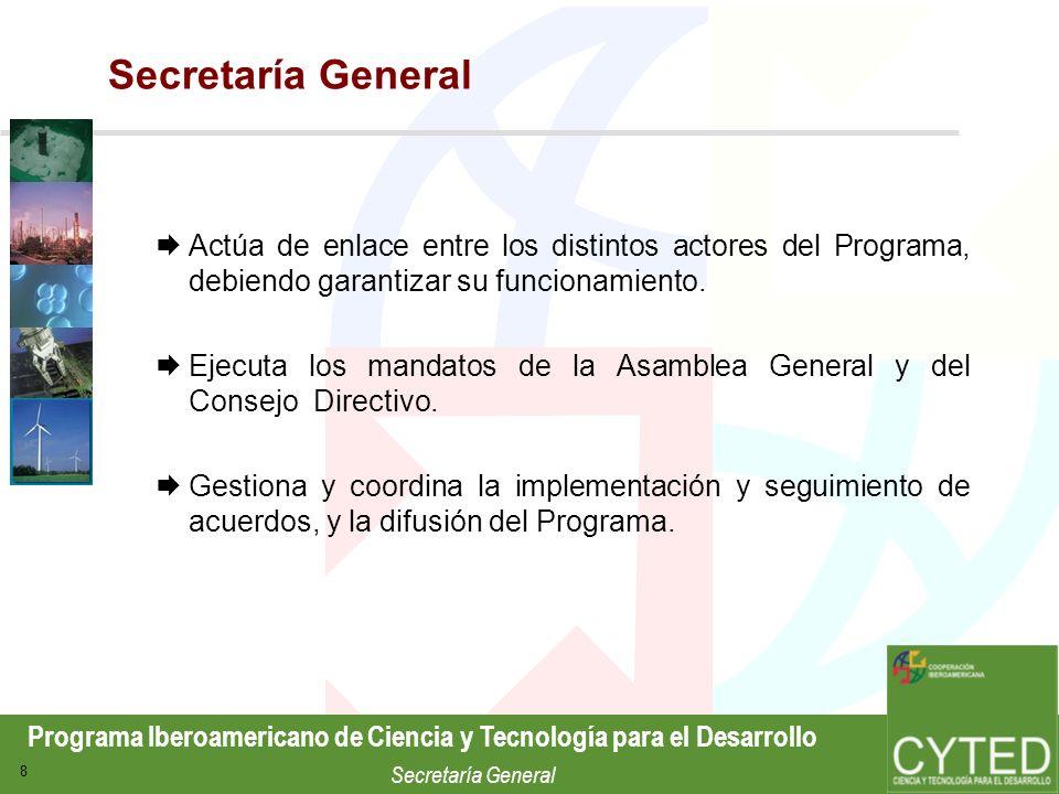 Secretaría GeneralActúa de enlace entre los distintos actores del Programa, debiendo garantizar su funcionamiento.