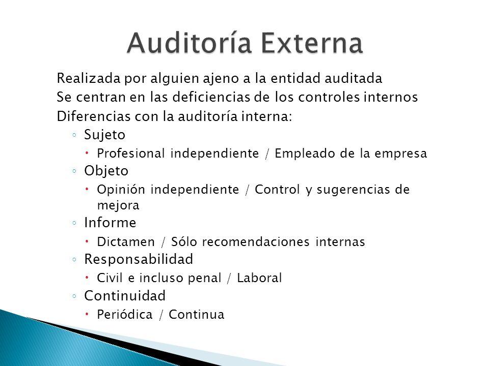 Auditoría Externa Realizada por alguien ajeno a la entidad auditada