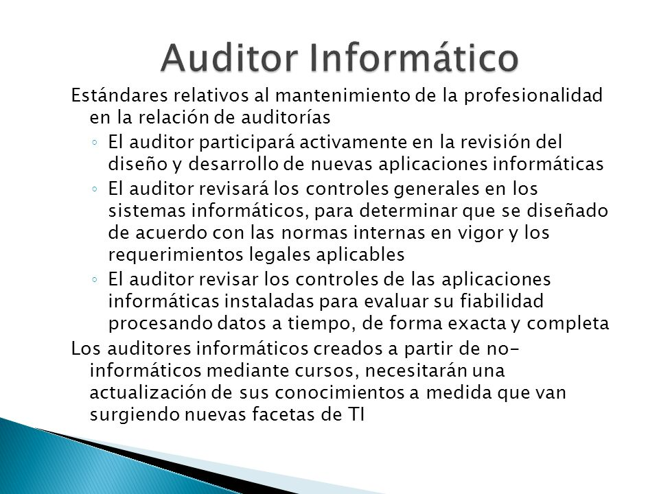 Auditor Informático Estándares relativos al mantenimiento de la profesionalidad en la relación de auditorías.