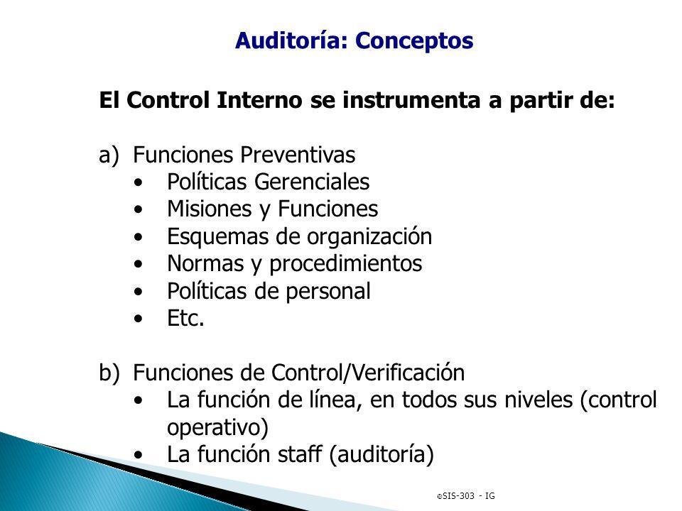 El Control Interno se instrumenta a partir de: Funciones Preventivas