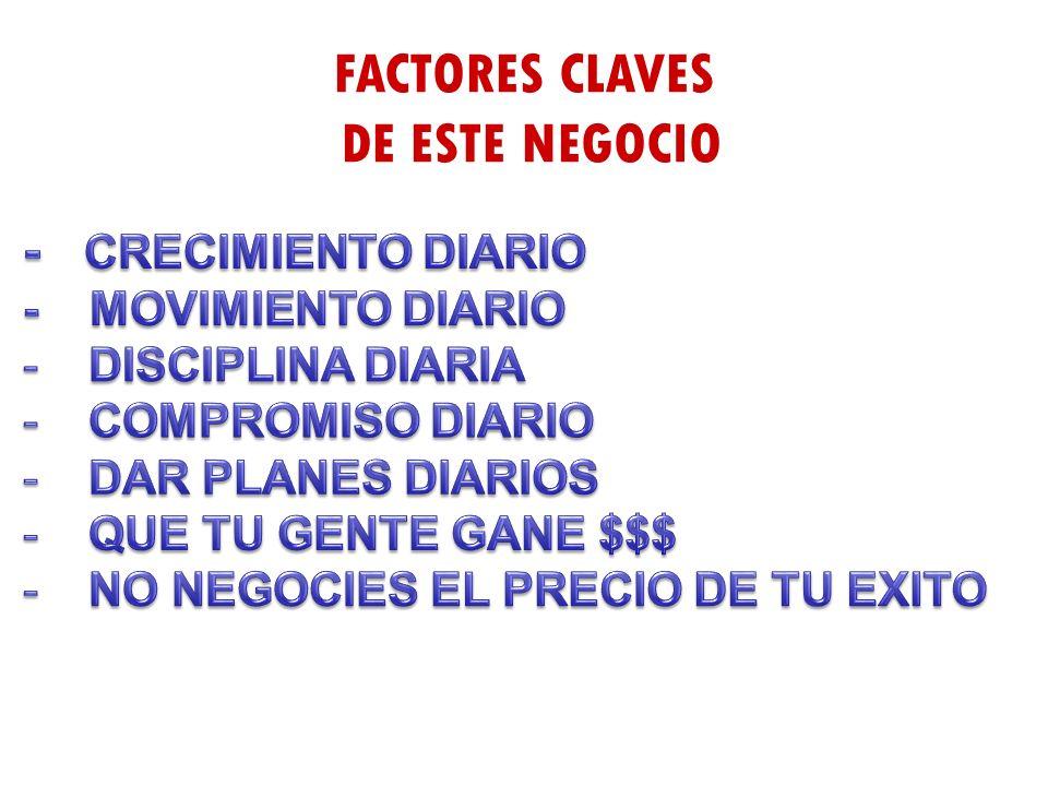 FACTORES CLAVES DE ESTE NEGOCIO - CRECIMIENTO DIARIO