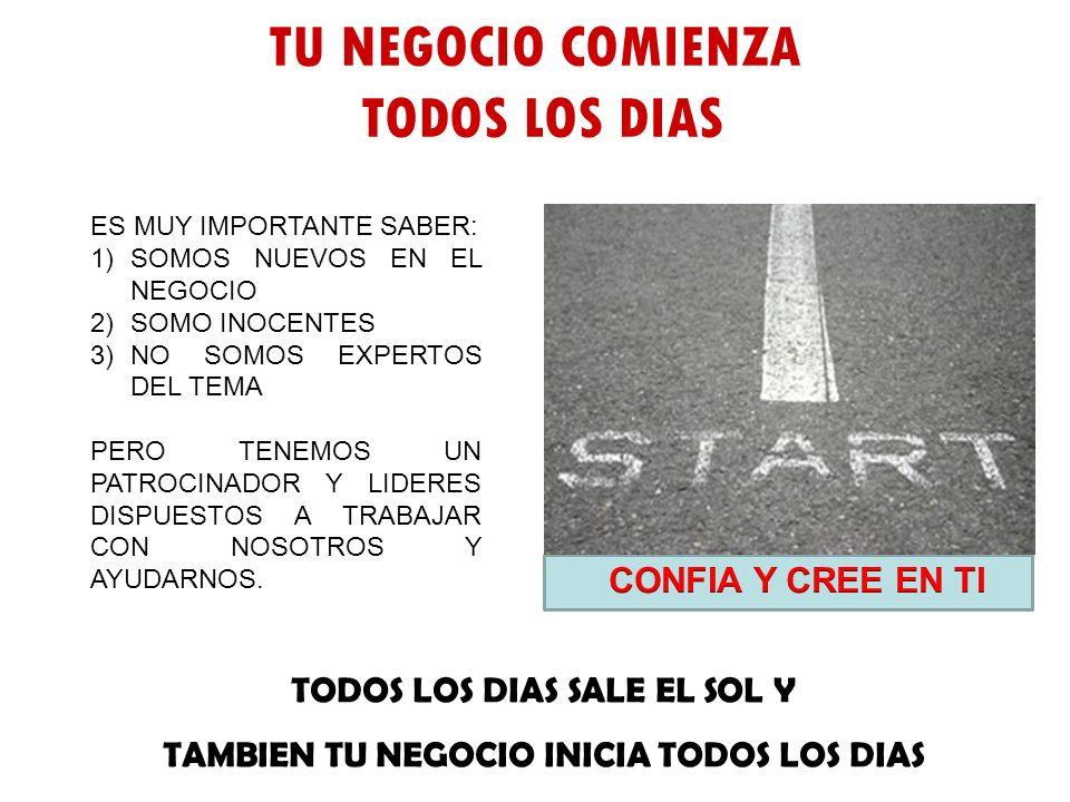 TU NEGOCIO COMIENZA TODOS LOS DIAS CONFIA Y CREE EN TI