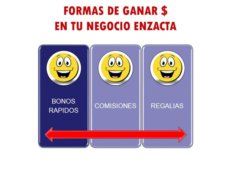 FORMAS DE GANAR $ EN TU NEGOCIO ENZACTA BONOS RAPIDOS COMISIONES