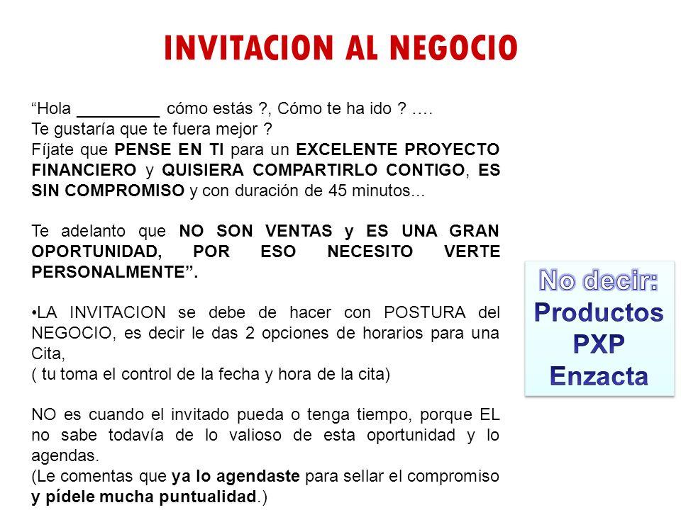 INVITACION AL NEGOCIO No decir: Productos PXP Enzacta