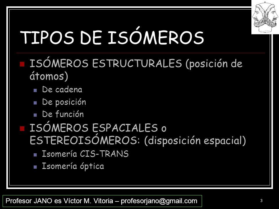 TIPOS DE ISÓMEROS ISÓMEROS ESTRUCTURALES (posición de átomos)