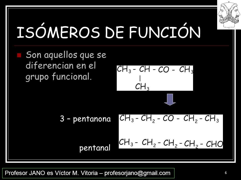 ISÓMEROS DE FUNCIÓN Son aquellos que se diferencian en el grupo funcional. 3 – pentanona pentanal