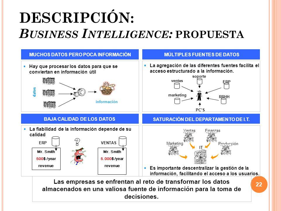DESCRIPCIÓN: Business Intelligence: propuesta