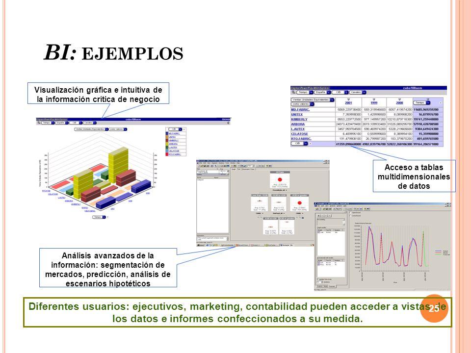 BI: ejemplos Visualización gráfica e intuitiva de la información crítica de negocio.