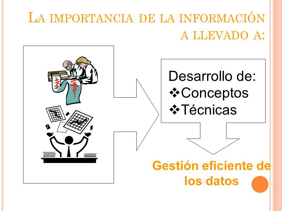 La importancia de la información a llevado a: