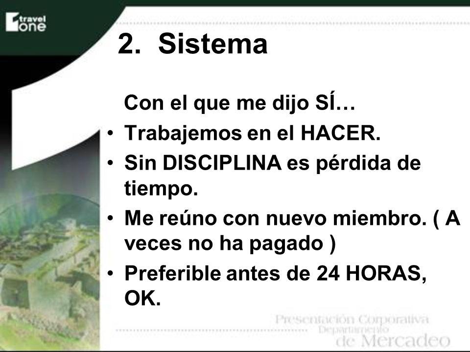 2. Sistema Con el que me dijo SÍ… Trabajemos en el HACER.