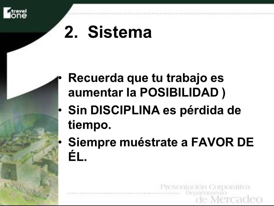 2. Sistema Recuerda que tu trabajo es aumentar la POSIBILIDAD )