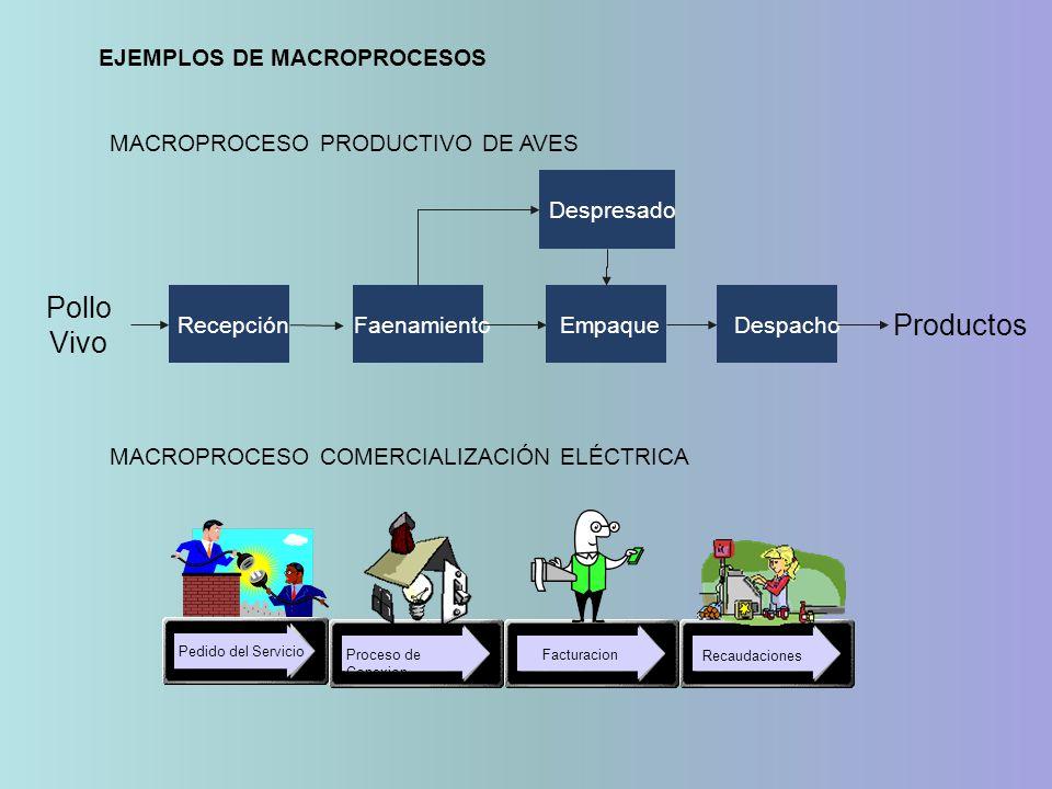 Pollo Vivo Productos EJEMPLOS DE MACROPROCESOS
