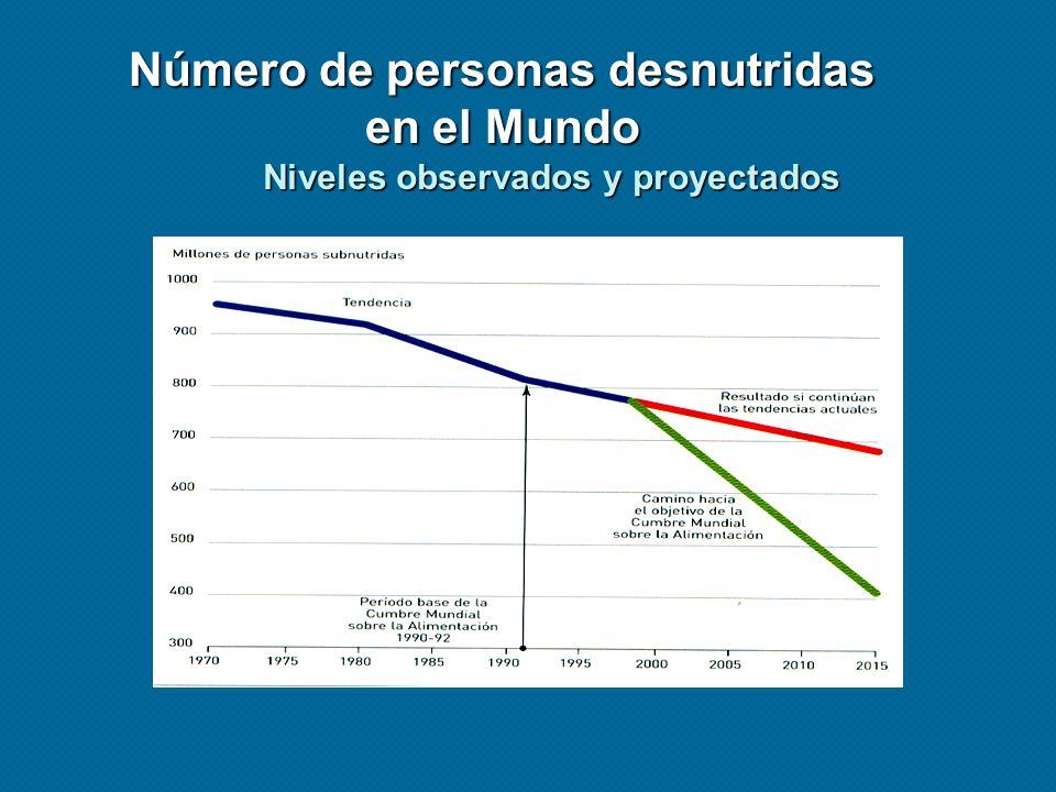 Número de personas desnutridas en el Mundo