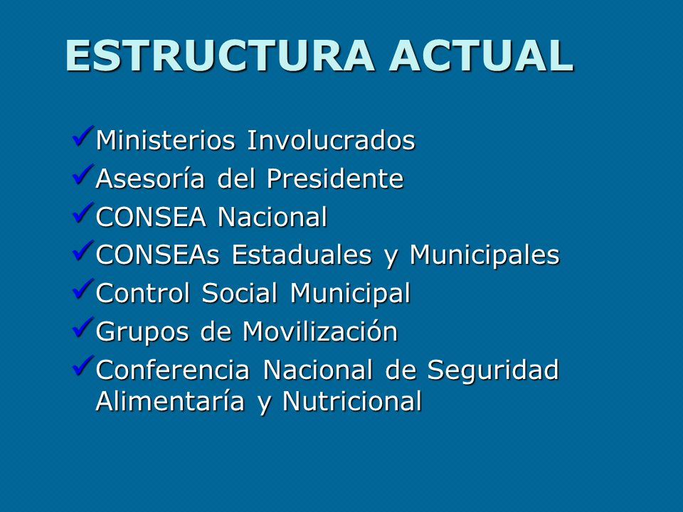 ESTRUCTURA ACTUAL Ministerios Involucrados Asesoría del Presidente