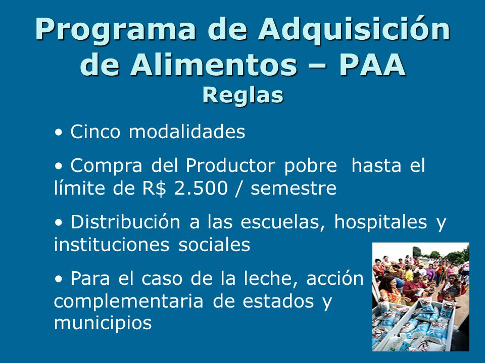 Programa de Adquisición de Alimentos – PAA Reglas