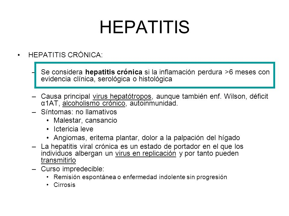 HEPATITIS HEPATITIS CRÓNICA: