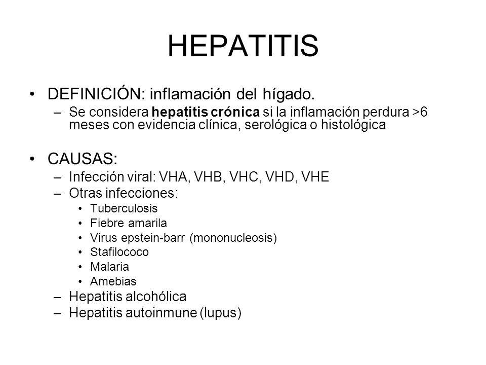 HEPATITIS DEFINICIÓN: inflamación del hígado. CAUSAS: