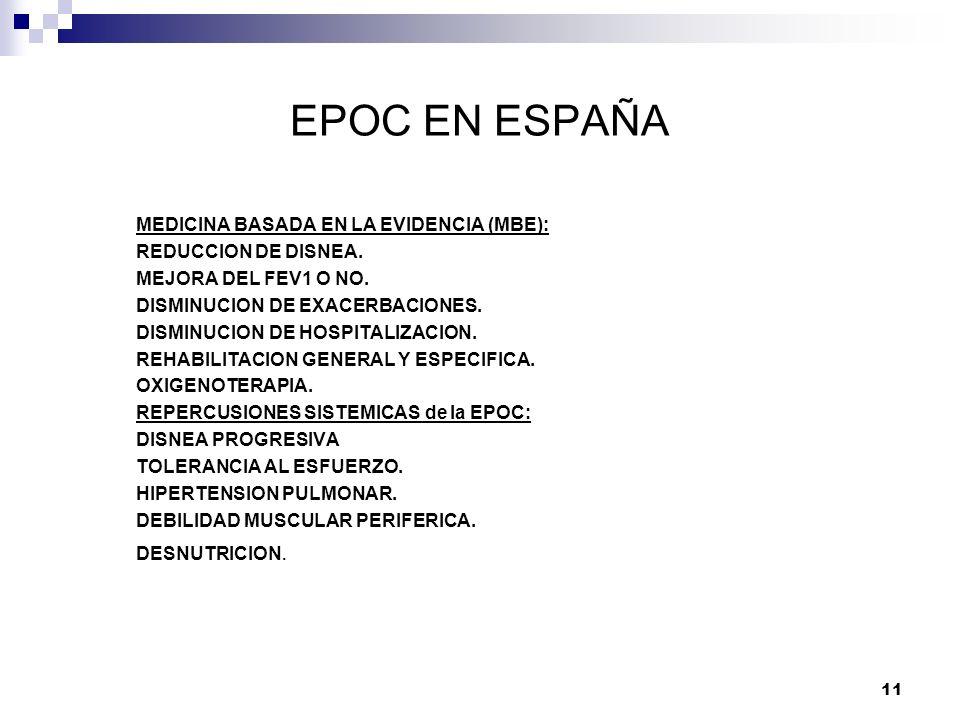 EPOC EN ESPAÑA MEDICINA BASADA EN LA EVIDENCIA (MBE):