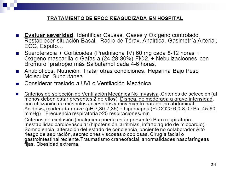 TRATAMIENTO DE EPOC REAGUDIZADA EN HOSPITAL