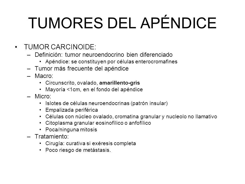 TUMORES DEL APÉNDICE TUMOR CARCINOIDE: