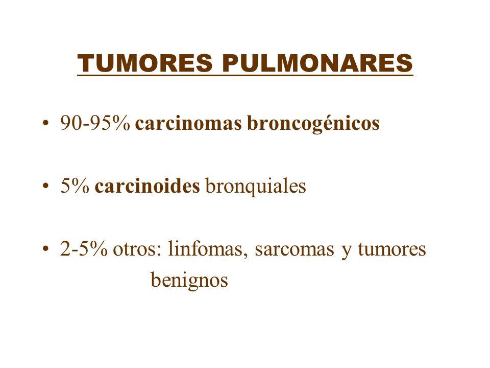 TUMORES PULMONARES 90-95% carcinomas broncogénicos