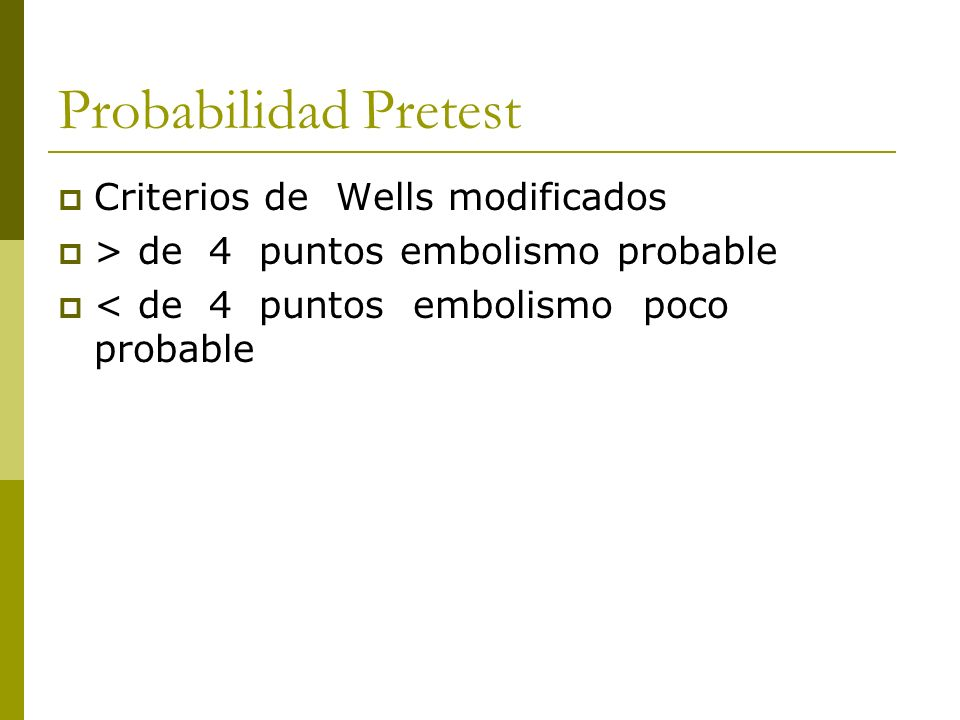 Probabilidad Pretest Criterios de Wells modificados