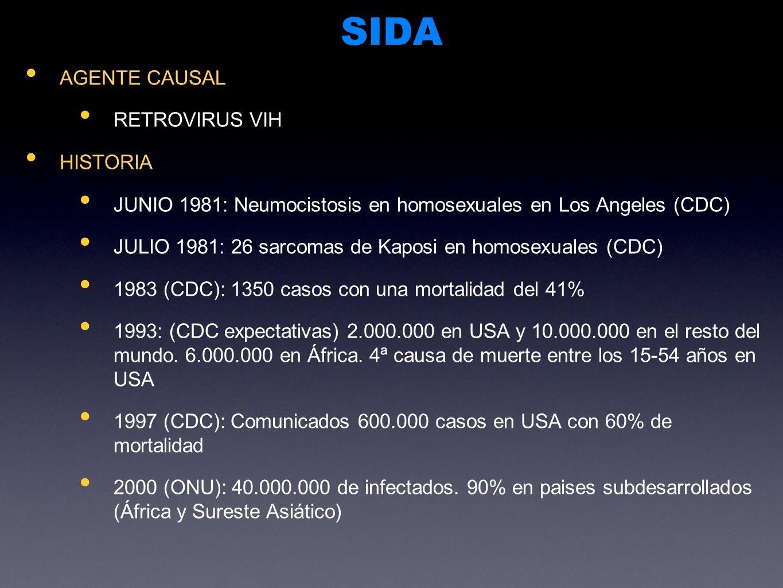 SIDA AGENTE CAUSAL RETROVIRUS VIH HISTORIA