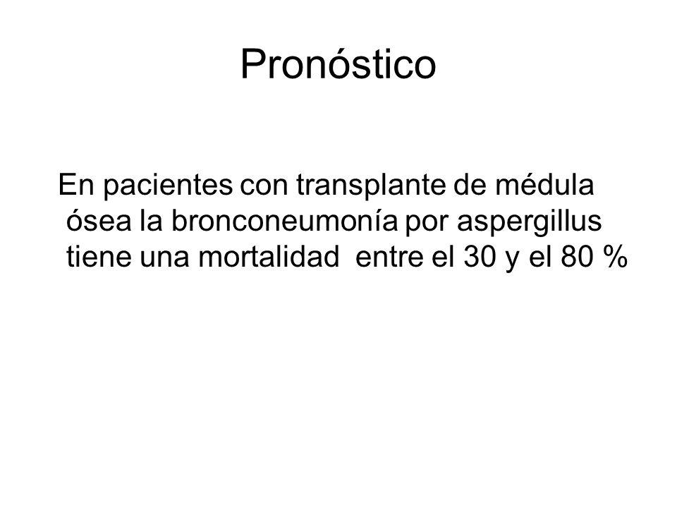 Pronóstico En pacientes con transplante de médula ósea la bronconeumonía por aspergillus tiene una mortalidad entre el 30 y el 80 %