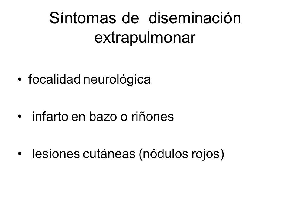 Síntomas de diseminación extrapulmonar